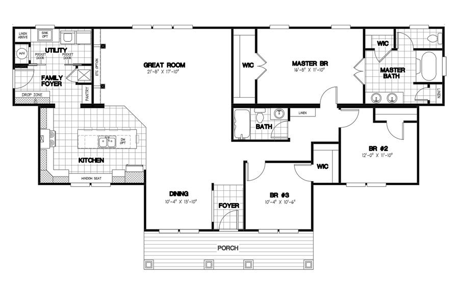 Oakwood Homes Floor Plans floorplan 2477 68x39 ck3+2 heritage mod | 58fre39683am | oakwood