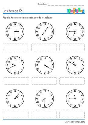 Fichas educativas para aprender las horas. Descarga tres