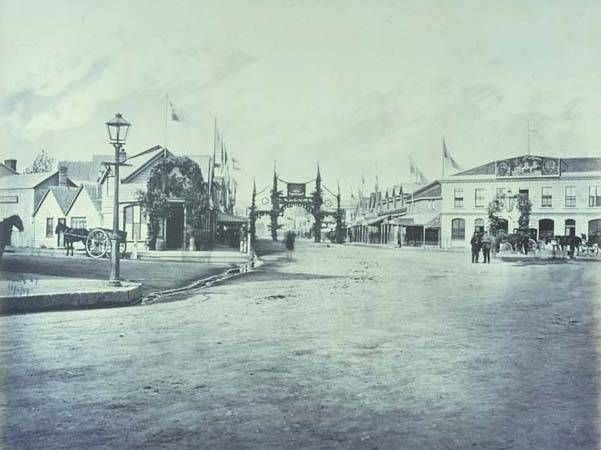 High Street 1869 Decorated For The First Royal Visit That Of