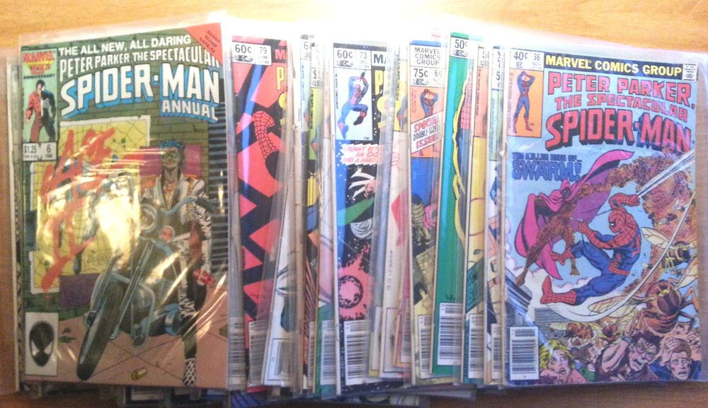 HUGE 38 COMIC LOT OF SPIDER-MAN FROM '79-'84 ALL BAGGED A DON'T MISS LOT