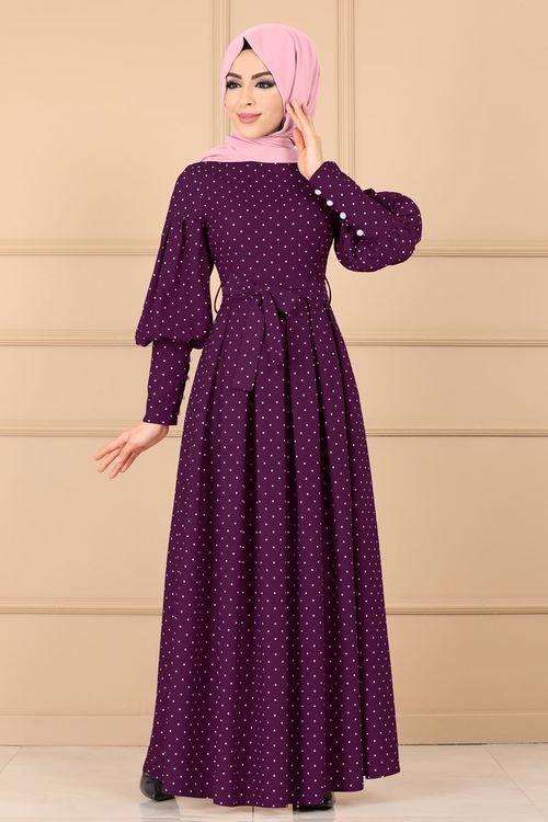 Modaselvim Elbise Puantiyeli Pileli Elbise 8962w153 Mor Islami Giyim Giyim Batik Elbise