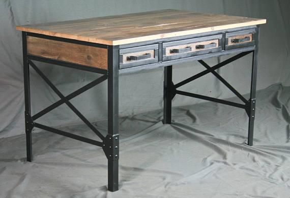 Reclaimed Wood Desk with Drawers. Industrial Office Desk w/ Storage. French Industrial Desk. Vintage Modern Desk. Rustic Industrial Table.