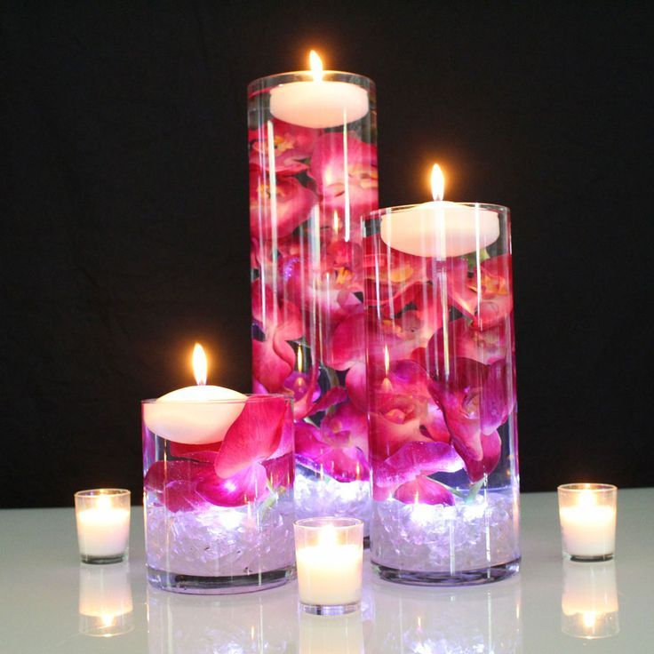 Flowers With Floating Candle Centerpieces: Silk Flower Phalaenopsis Orchids In Fuchsia Purple