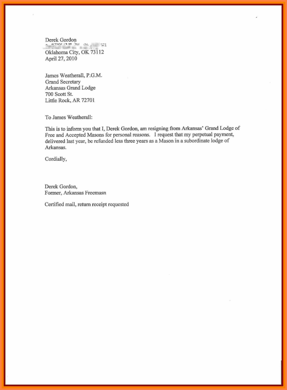 Sample Of Resignation Letter For Personal Reasons Corpus