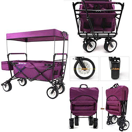 EverydaySports NEW 4th GENERATION Folding Collapsible Wagon With Canopy And  Kids Seat Belt   Utility Outdoor
