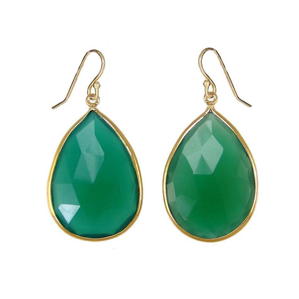 Green Onyx Gold Earrings Teardrop Drop Dangle Gemstone Jewelry
