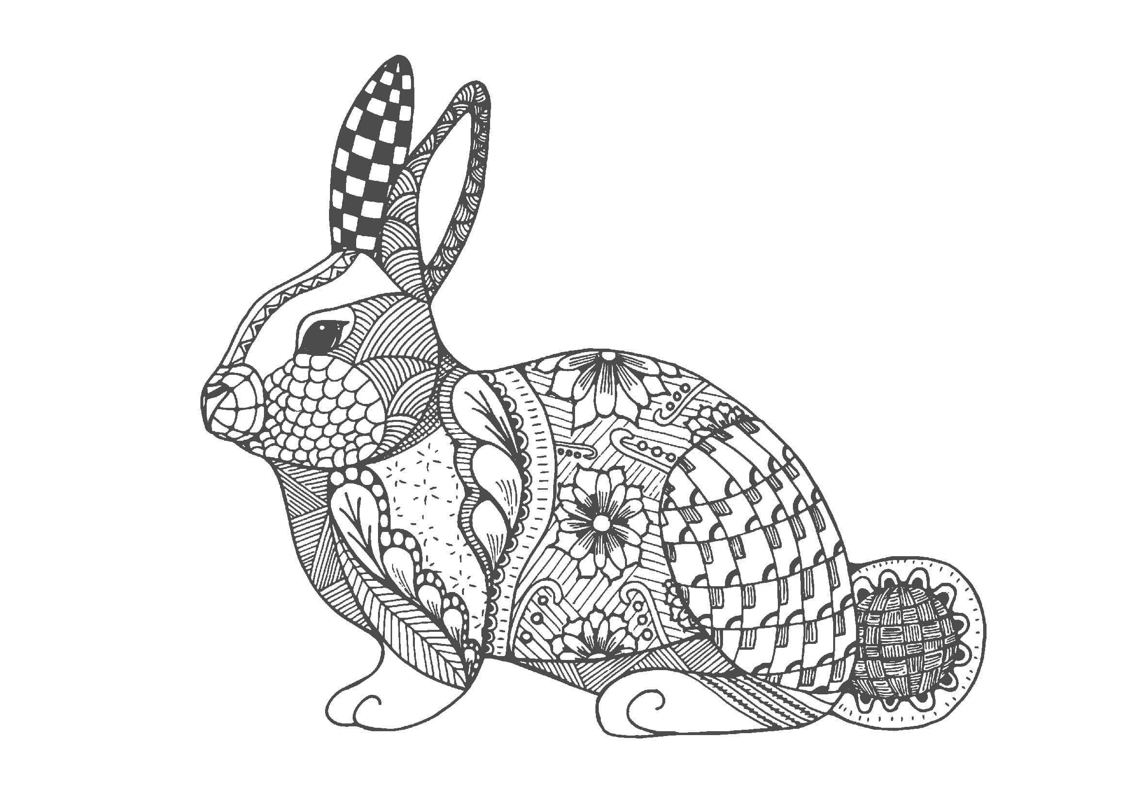 ウサギ01 A4無料印刷の大人のぬりえ 切り絵 Abstract Coloring Pages