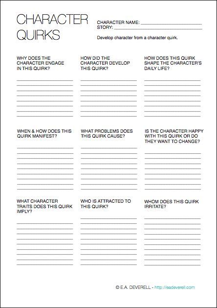 Character Quirks Writing Worksheet Wednesday With Images