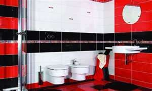 Bathroom Designs With White Toilet Black Wall And Red Color On The Bathroom Design Black Bathroom Red Bathroom Tile Designs