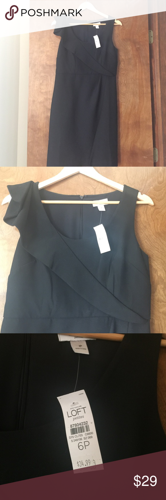 ✨NEW PRICE✨ LOFT Little Black Dress NWT size 6P Fitted sleeveless with shoulder ruffle detail. Zip back. LOFT Dresses