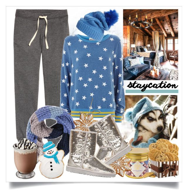 """""""Cozy Staycation Style"""" by alaria ❤ liked on Polyvore featuring H&M, Wildfox, Paula Bianco, Flowers of Liberty, UGG Australia, cozy and staycation"""