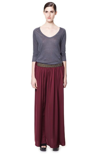 2419c112936a7d LONG SKIRT WITH BEADED WAISTBAND Zara Trends