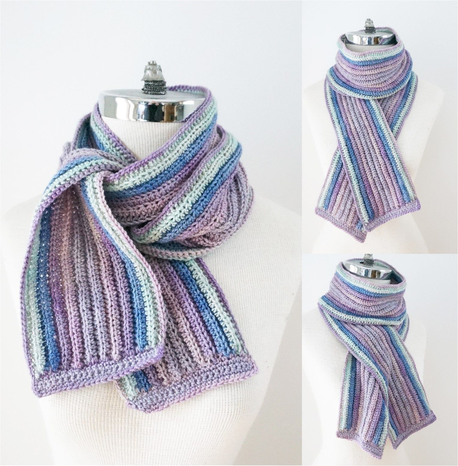 Photo of Classic Crochet Ribbed Scarf pattern, perfect for Party of Five mini skeins or sock yarn, long scarf, crochet scarf pattern, scarf pattern