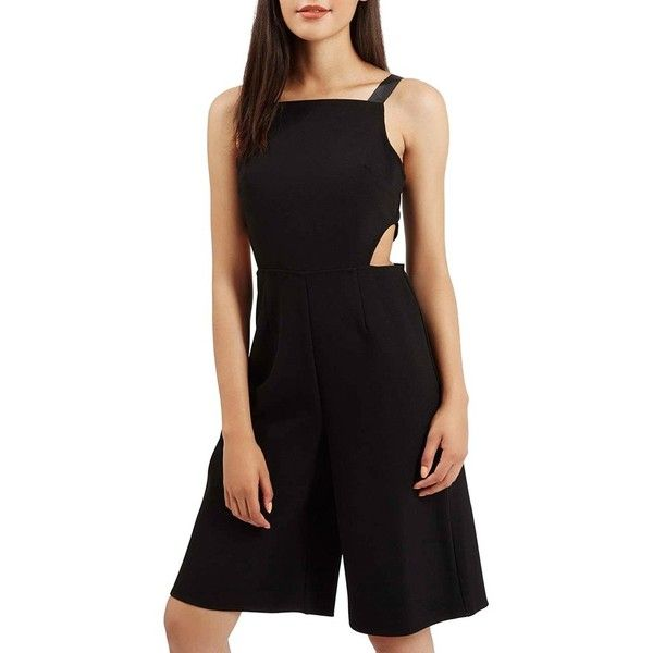 Petite Topshop Side CutoutRomper (500 DKK) ❤ liked on Polyvore featuring jumpsuits, rompers, black, petite, sleeveless romper, topshop romper, topshop, sleeveless rompers and topshop rompers