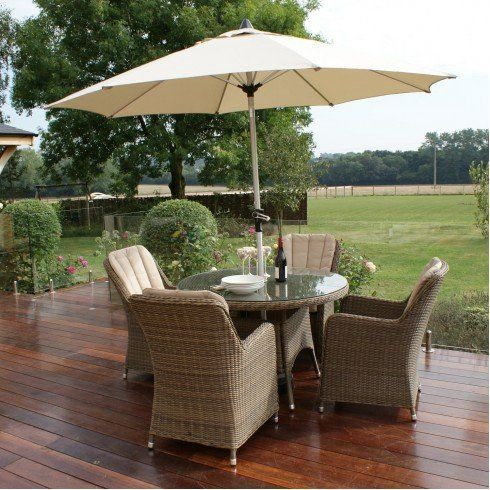 Dorset Rattan Garden Furniture Venice 4 Seater Round Dining Set