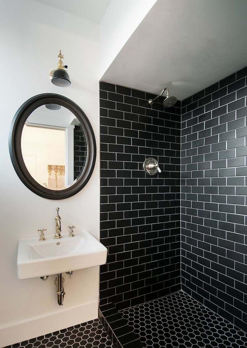 Carrelage Metro Blanc Joint Gris carrelage salle de bain noir et blanc - duo intemporel très