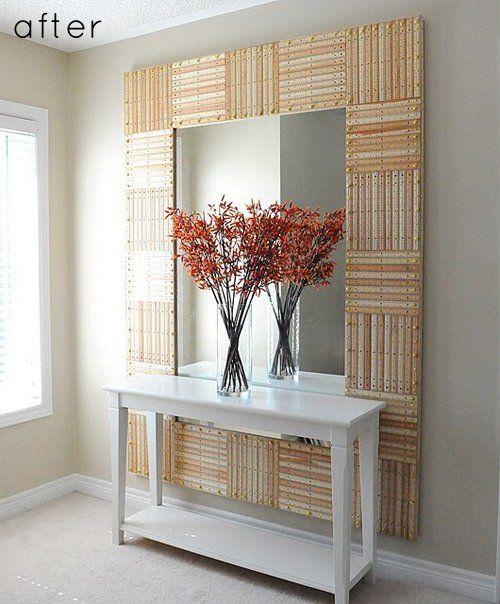 Espejo con marco de reglas de madera home design for Espejo redondo marco madera