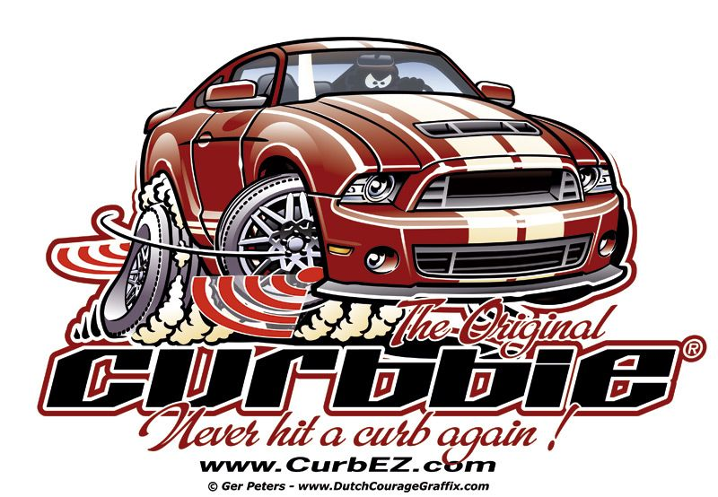 Curbez Curbbie Electronic Curb Detection Ford Mustang Logo Artwork Curbbie Ford Mustang Logo Artwork Cartoon Artwork Car Cartoon Illustration