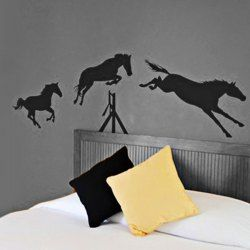 $17.49 Fashion Art Mural Home Decoration DIY TV Background  Wall Sticker with Three Horses Pattern