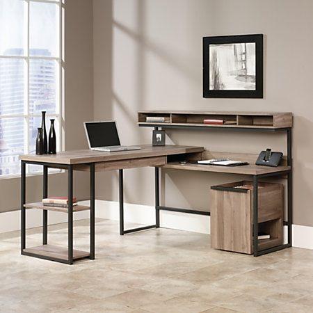 home office desktop 1. Sauder® Transit Collection Multi-Tiered L-Shaped Desk, 42 1/2 · Home Office Desktop 1 P
