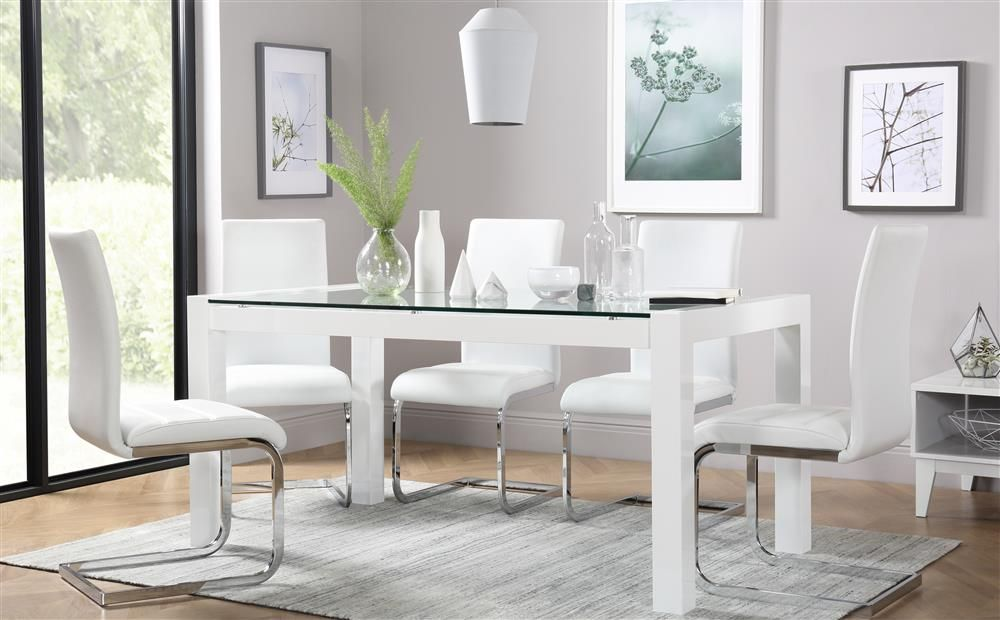 Venice White High Gloss and Glass Dining Table - with 4 Perth White