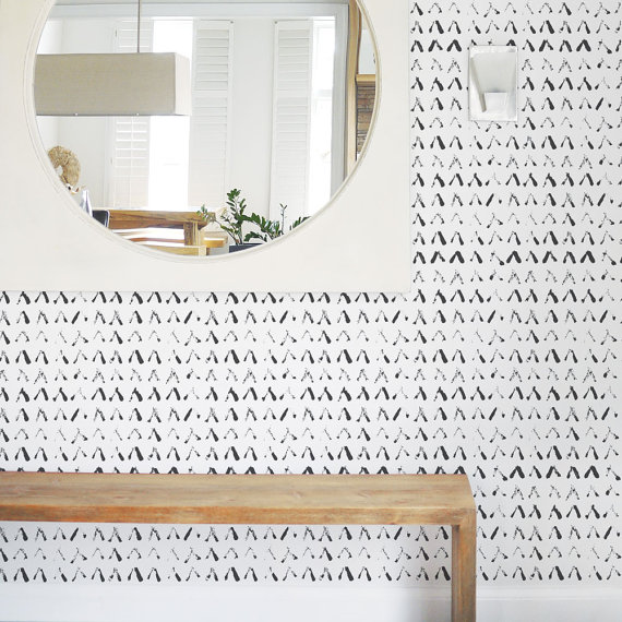 Removable Wallpaper Self Adhesive Scandinavian Monochrome Shapes Abstract
