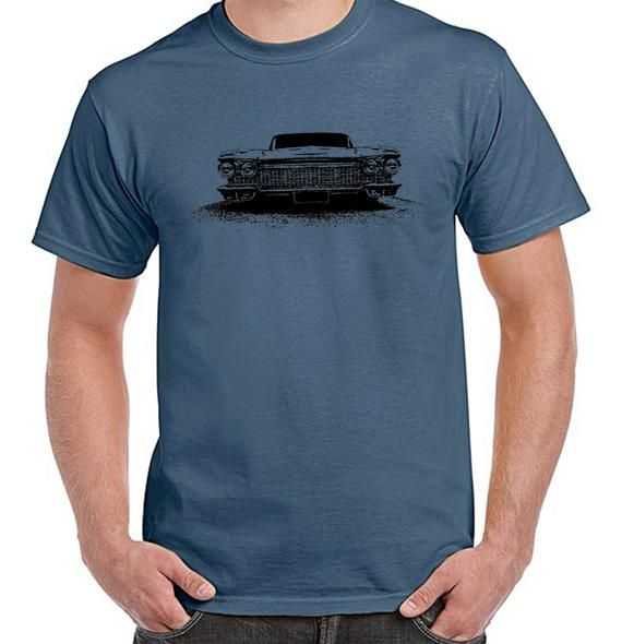 Cadillac, Classic car, Turbo, street machines, Muscle cars, Mens Indigo Blue, 100% cotton light weight summer Tshirt