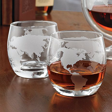Etched Globe Whiskey Glasses Set Of 2 At Wine Enthusiast