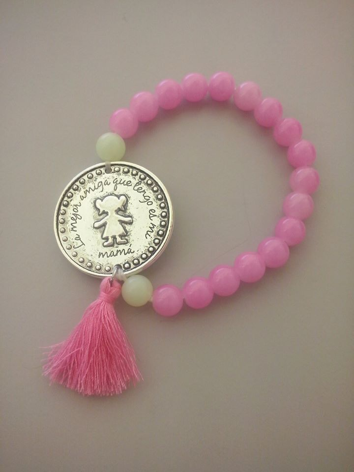 Pulseira Bolas em Rosa C/ Medalha Menina