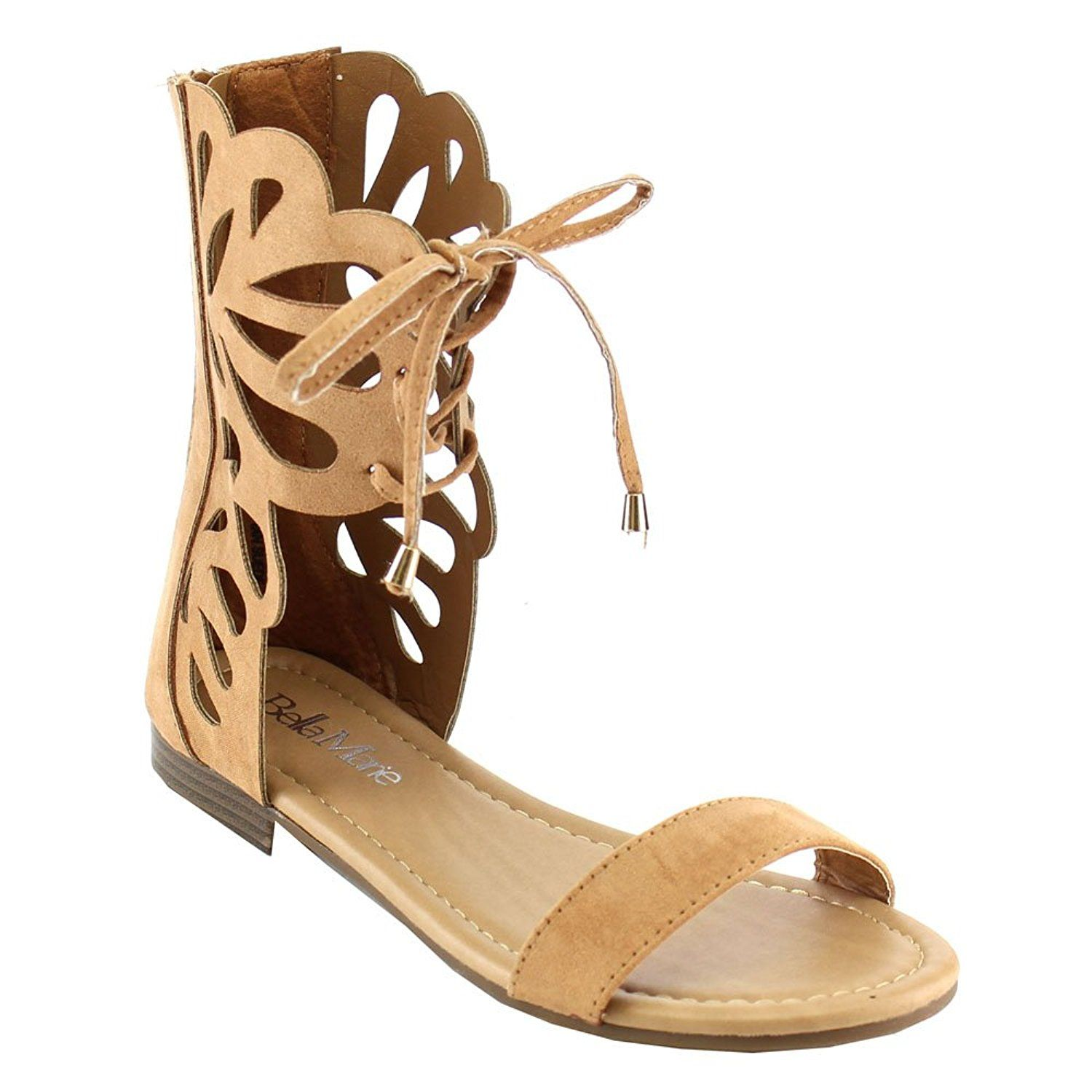 3e3cdf54d17c4f Anna Fantacy-3 Lady Mid Calf Boot Cut Out Lace Up Gladiator Cage Flat Zip  Sandal     Check this awesome image - Lace up sandals