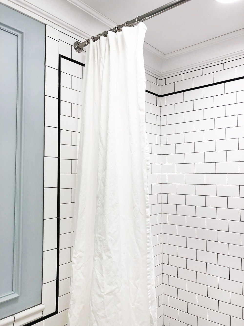 Extra Long Shower Curtain Diy Room For Tuesday Blog Extra Long Shower Curtain Diy Shower Curtain Long Shower Curtains