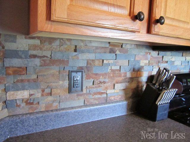 Stone Kitchen Backsplash Lifestyle Designs Honey Oak
