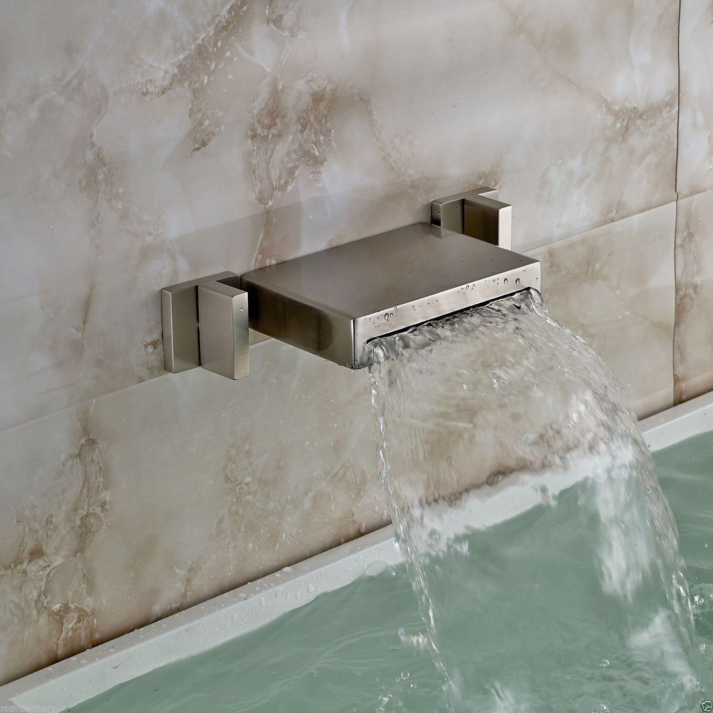 Brushed Nickel 3pcs Wall Mount Bathtub Faucet Waterfall Spout Sink