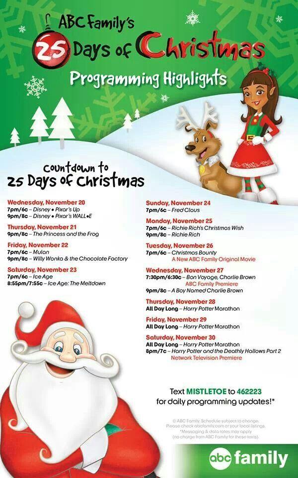 2013 Abc Family S Countdown To 25 Days Of Christmas Nov 20 30