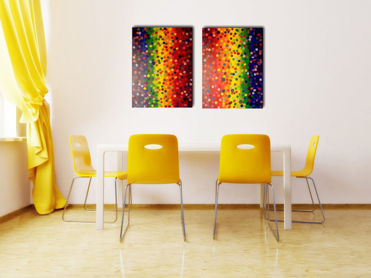 BLOWOUT SALE 50% OFF Large Modern Abstract Rainbow Dots Painting ...