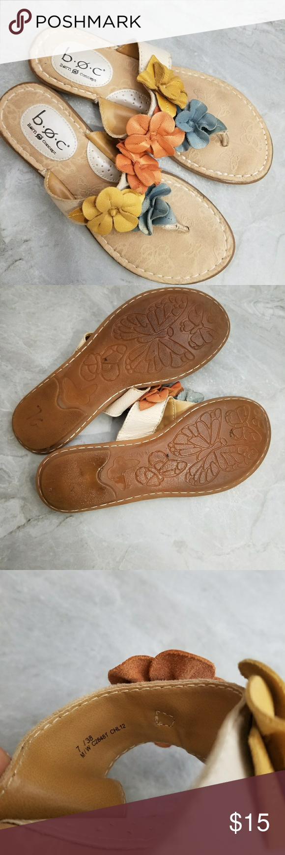 da56f1a66e8f B.O.C. Sandals Good Condition B.O.C Sandals with Flower details. Size 7  B.O.C Shoes Sandals