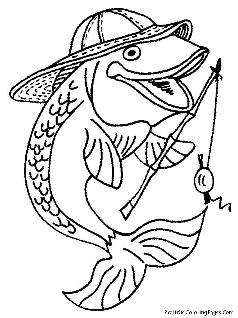 Fisherman Fish Printable Kids Coloring