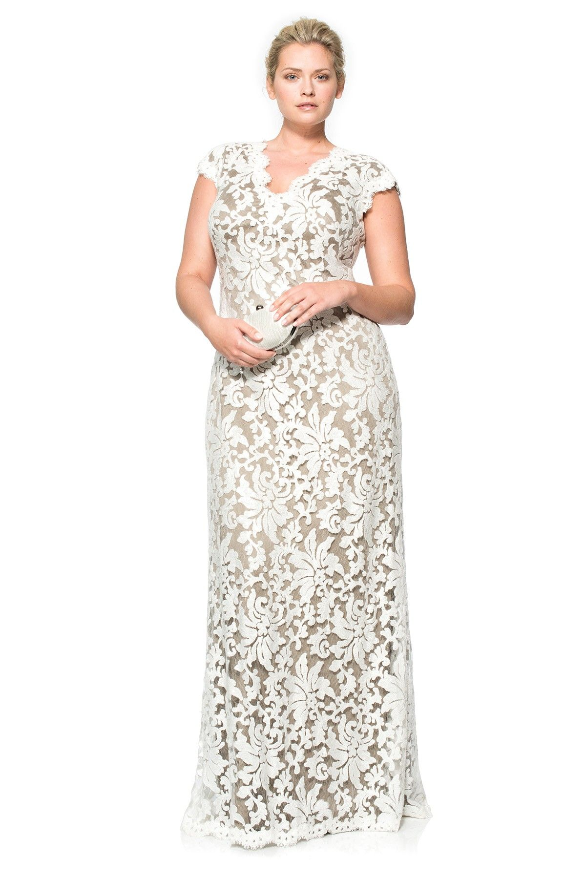 514b7330472ccd Paillette Embroidered Lace Scalloped V-Neck Gown | Tadashi Shoji ...
