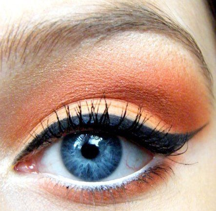 orange is opposite from blue on the color wheel, so orange eyeshadow on a blue eye makes the eye pop. YES, it absolutely will!