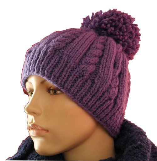 Beanie Bobble Hat Knitting Pattern from Knitwitz A very simple Cable Knit  design e70184ea8c2
