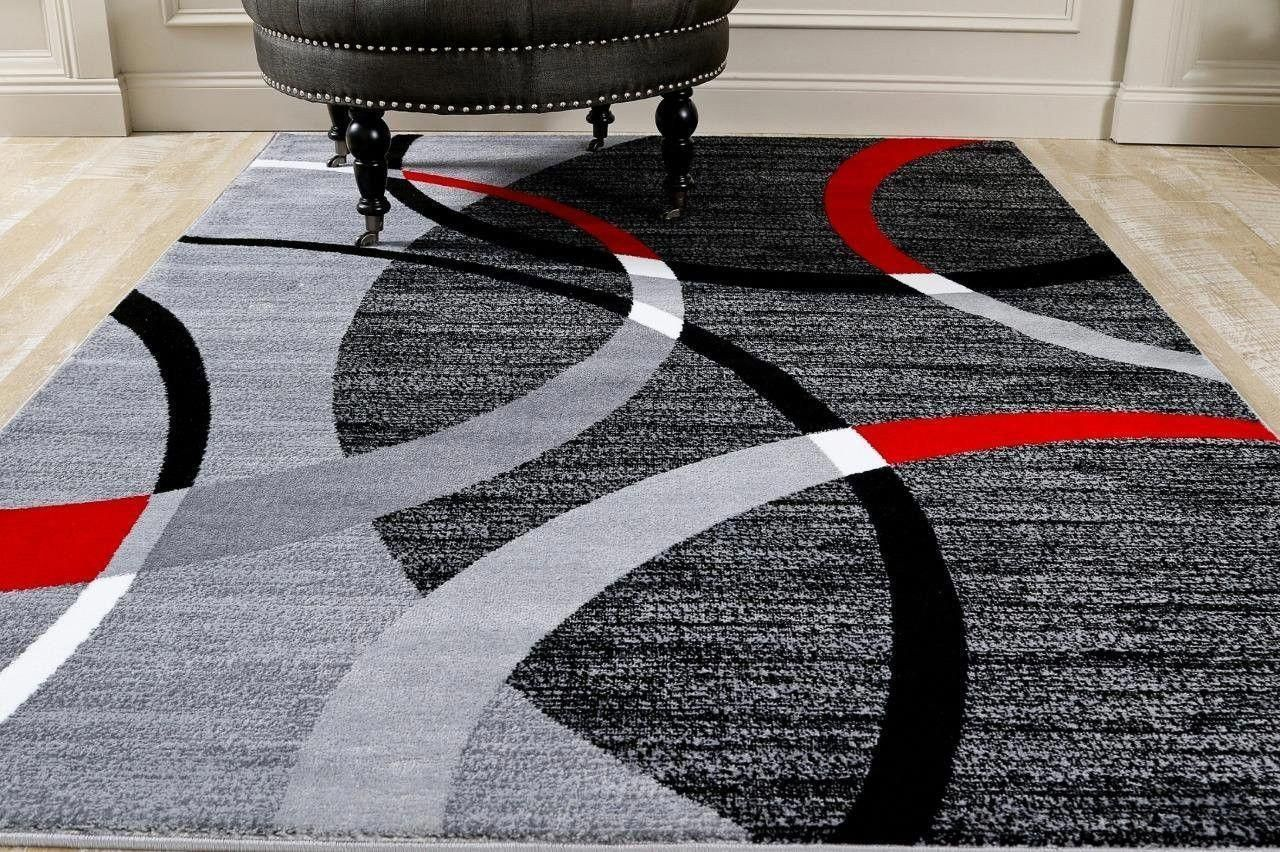 Gray Red Abstract Modern Geometric Area Rugs For Living Room Bedroom Bargain Area Rugs Stufftoshop Black Area Rugs Contemporary Area Rugs Area Rugs