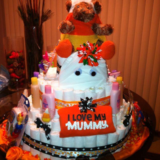 halloween baby shower diaper cake