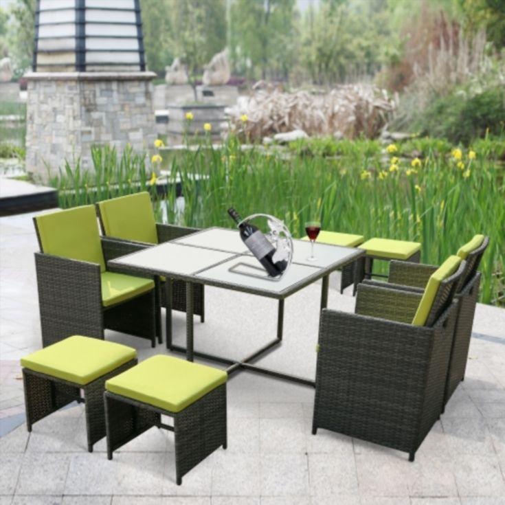Ikayaa 9pcs 8 Seater Rattan Patio Garden Dining Set Furniture Cushioned Outdoor Dining Table Chair Sofa Set Iron