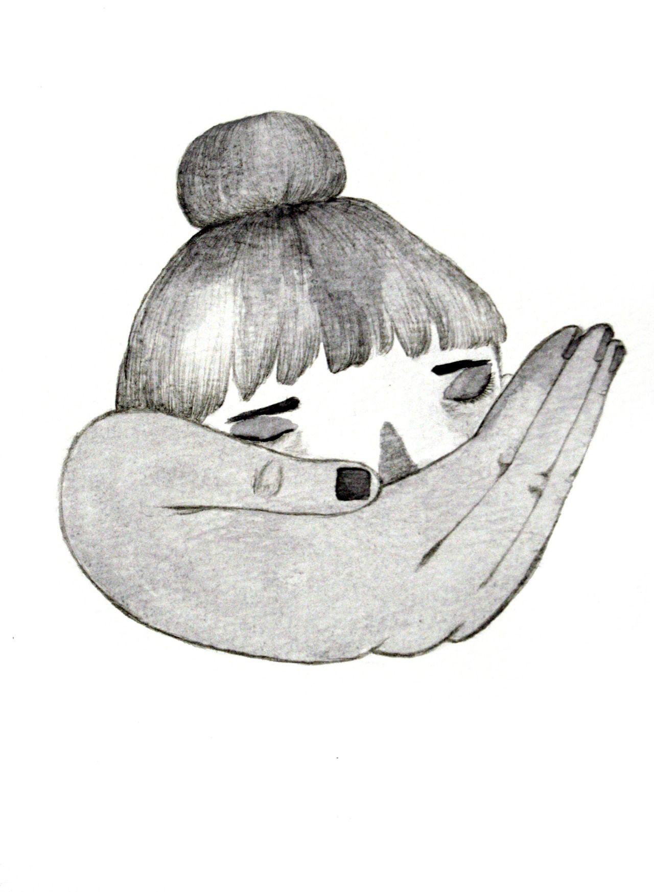 Dead head, ink on paper 2013. ▼ Julia Trybala