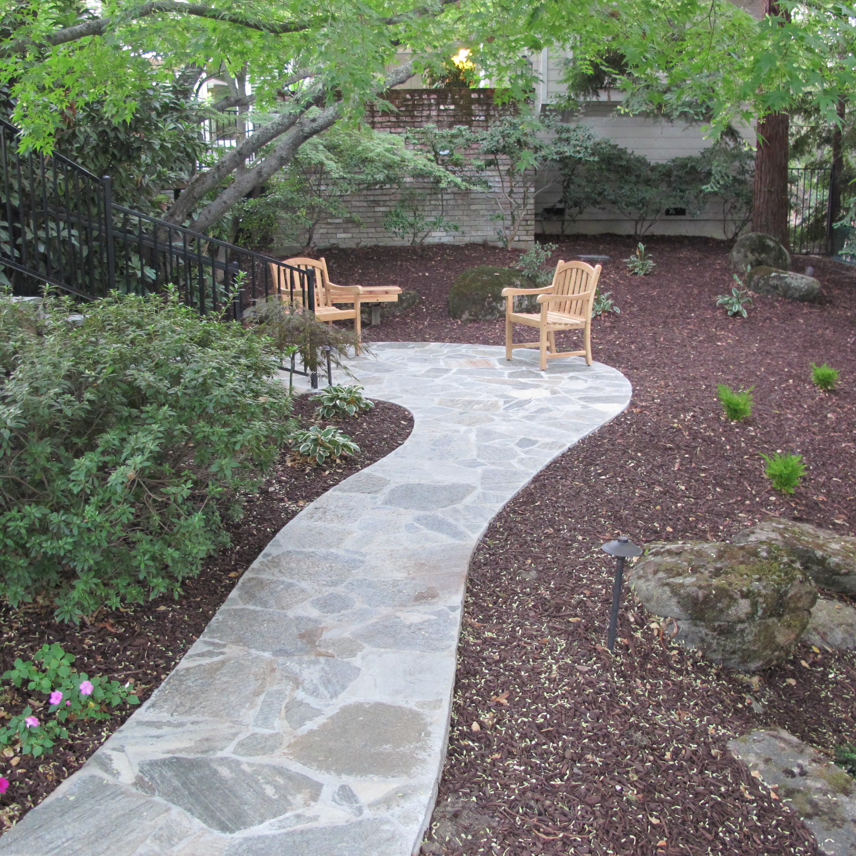 Uncategorized Flagstone Pathways modern flagstone walkway ideas pathway seating area teak patio furniture