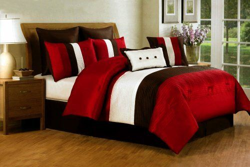 8 pc modern red/ beige/ brown / bed in a bag /comforter set/ queen