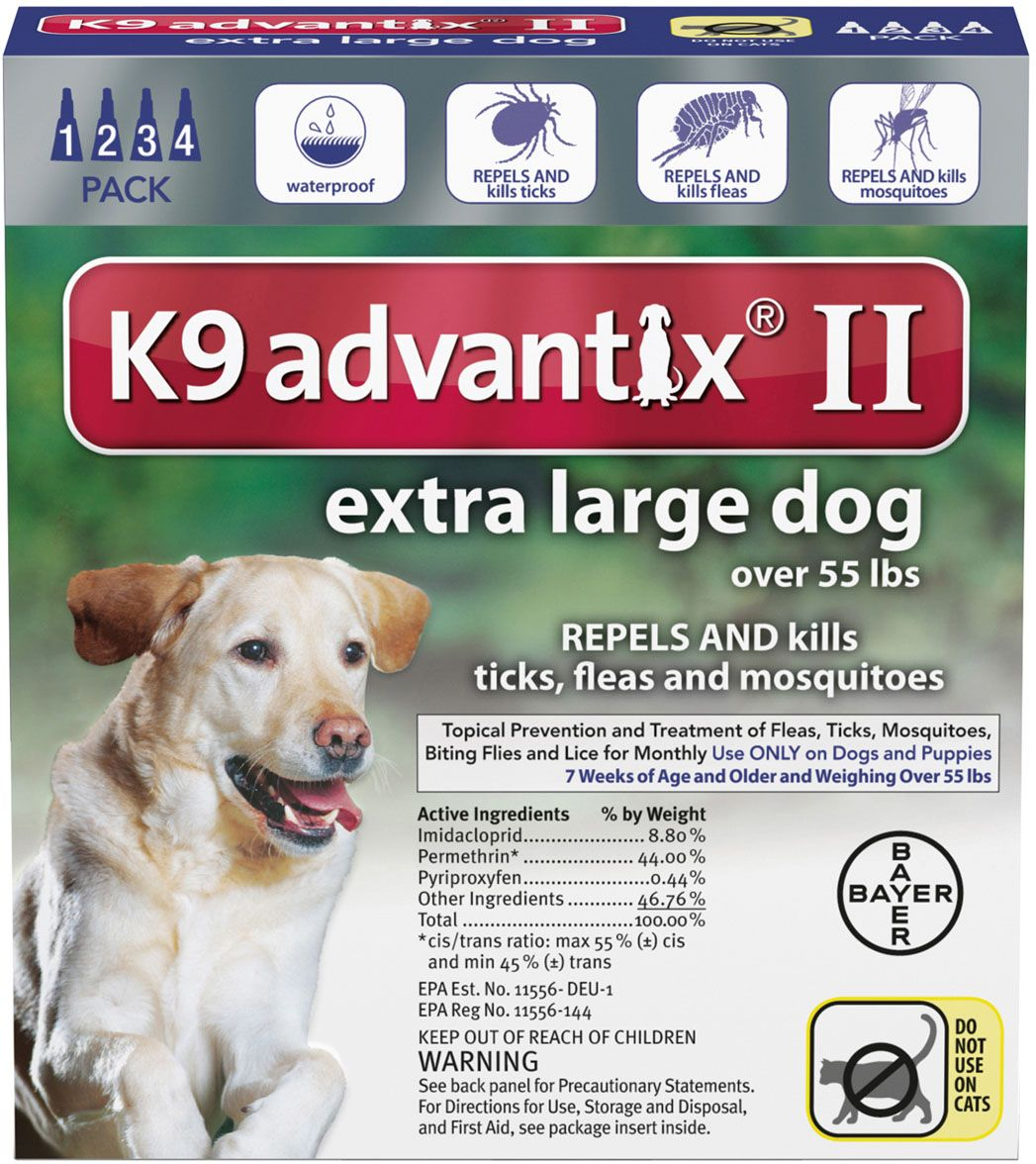 K9 Advantix II 4 pk (dogs over 55 lbs) Blue Fleas, Large
