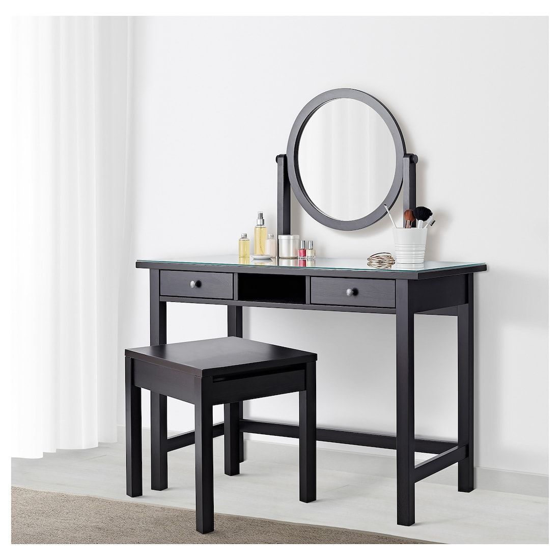 Hemnes Dressing Table With Mirror Black Brown 43 1 4x17 3 4 Ikea Dressing Table Mirror Black Dressing Tables Black Wall Mirror