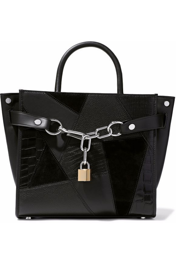 Alexander Wang Woman Chain-embellished Textured-leather And Suede Tote Black Size Alexander Wang HdYTxo6cd