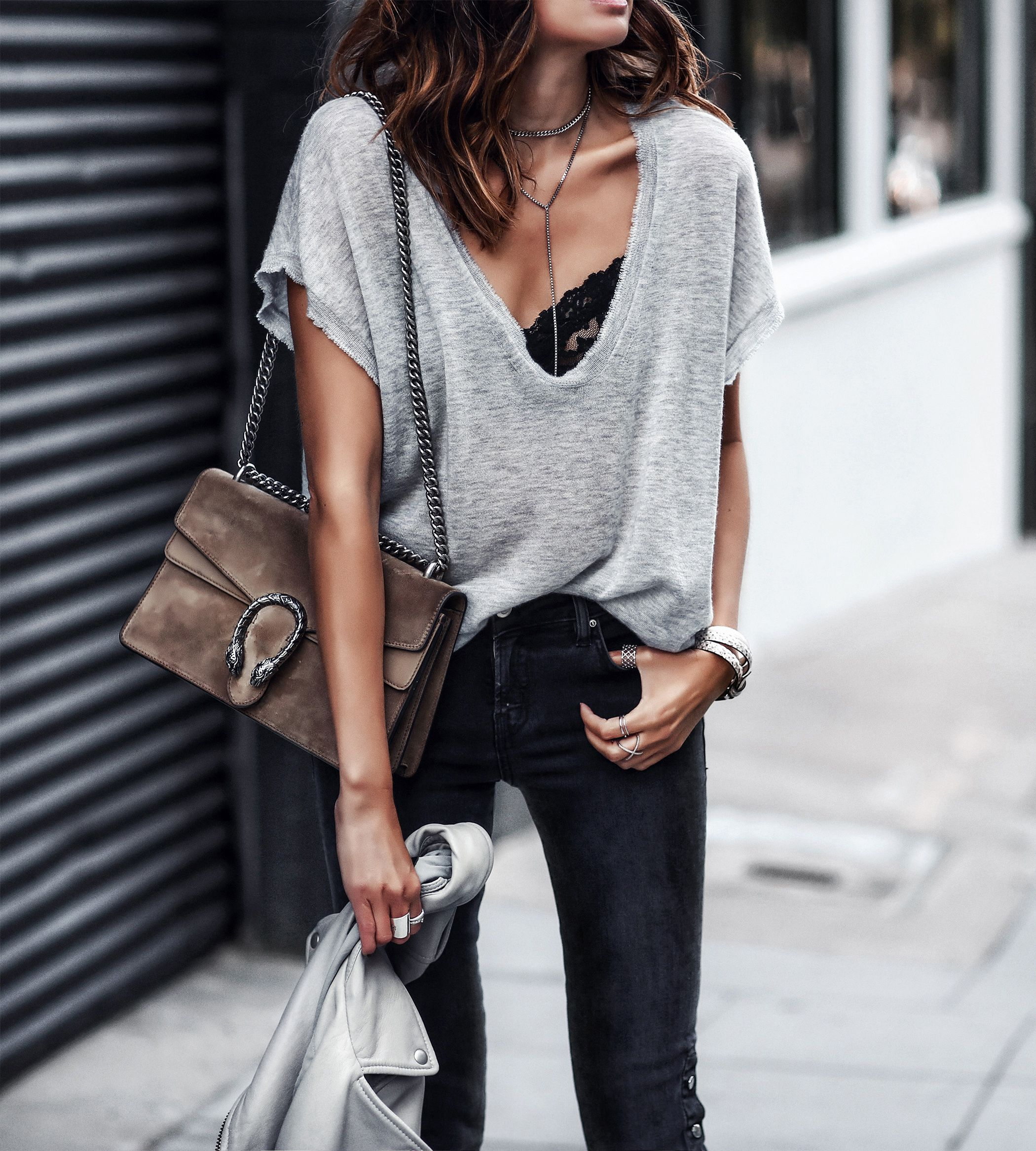gray oversized knit tshirt 4515e983a